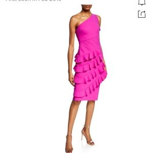 CHIARA BONI ONE SHOULDER RUFFLE DRESS